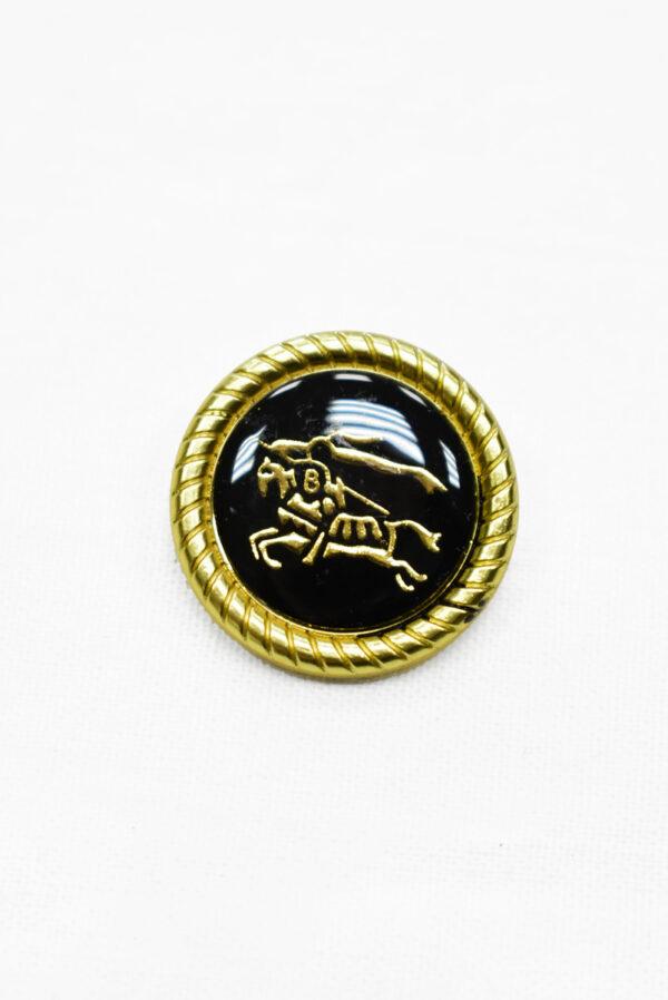 Пуговица металл с черной эмалью золотой всадник на лошади (p1165) к19 - Фото 6