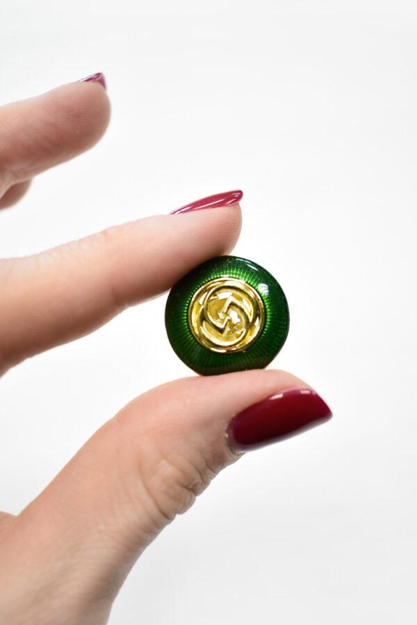 Пуговица металл с зеленой эмалью и золотым символ бесконечности (p1169) к19 - Фото 8