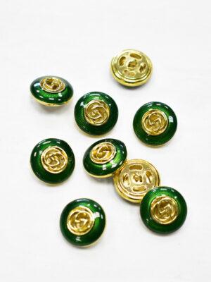 Пуговица металл с зеленой эмалью и золотым символ бесконечности (p1169) - Фото 18