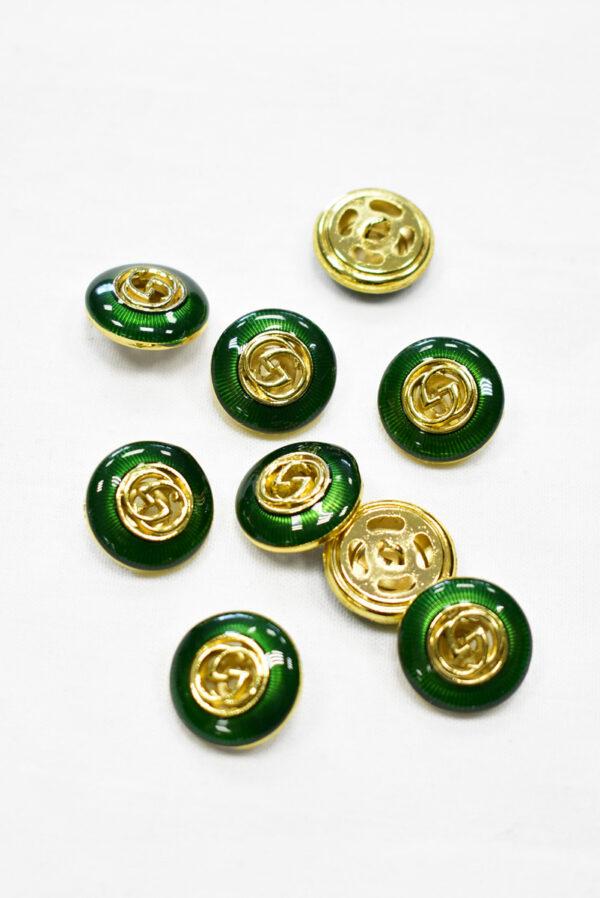 Пуговица металл с зеленой эмалью и золотым символ бесконечности (p1169) к19 - Фото 7
