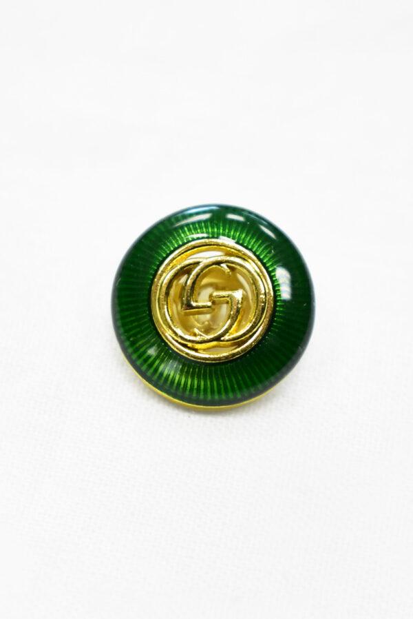 Пуговица металл с зеленой эмалью и золотым символ бесконечности (p1169) к19 - Фото 6