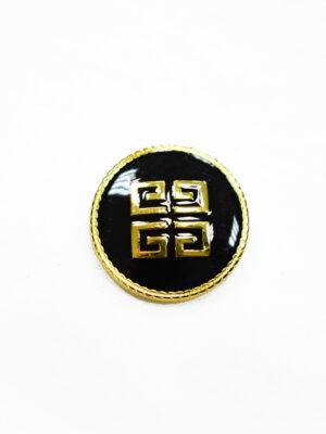 Пуговица металл с черной эмалью в золотой окантовке (p1175) - Фото 26