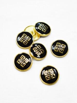 Пуговица металл с черной эмалью в золотой окантовке (p1175) - Фото 27