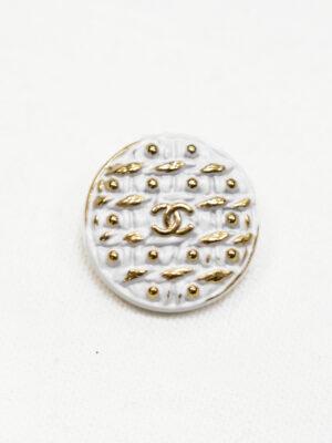 Пуговица металл эмаль белая с золотым узором (р1185) - Фото 20