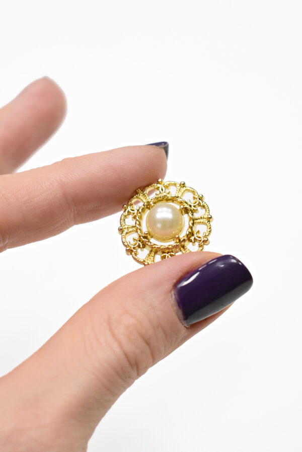 Пуговица металл золото с жемчужиной (р1192) к19 - Фото 8