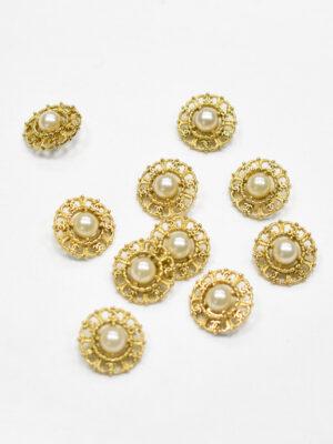 Пуговица металл золото с жемчужиной (р1192) - Фото 19