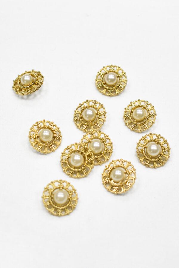 Пуговица металл золото с жемчужиной (р1192) к19 - Фото 7