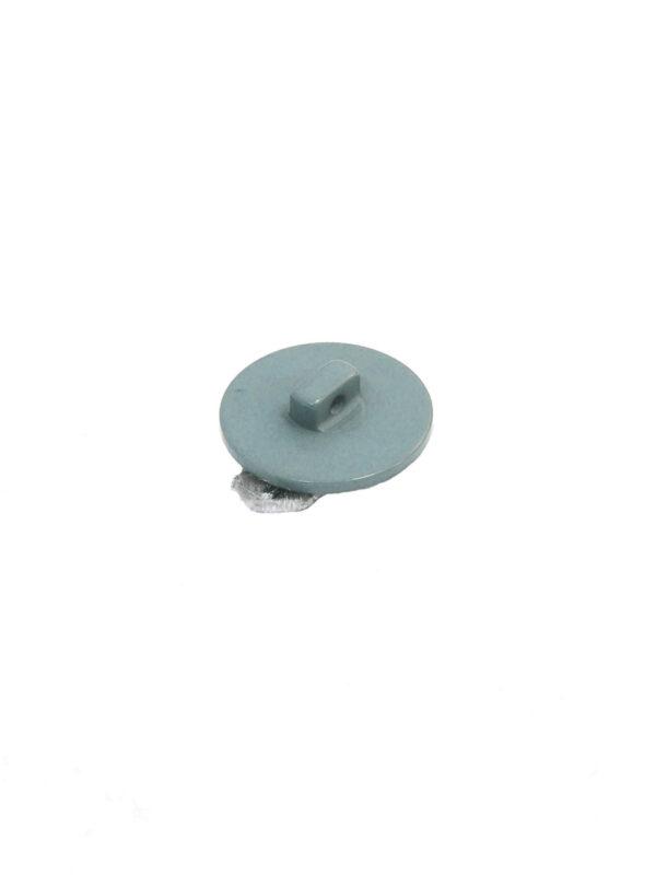 Пуговица пластиковая голубая перламутровая с бархатным бантиком 1