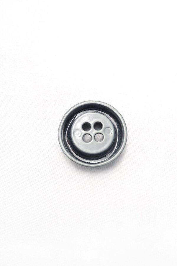 Пуговица металл серая большая на четыре прокола 1