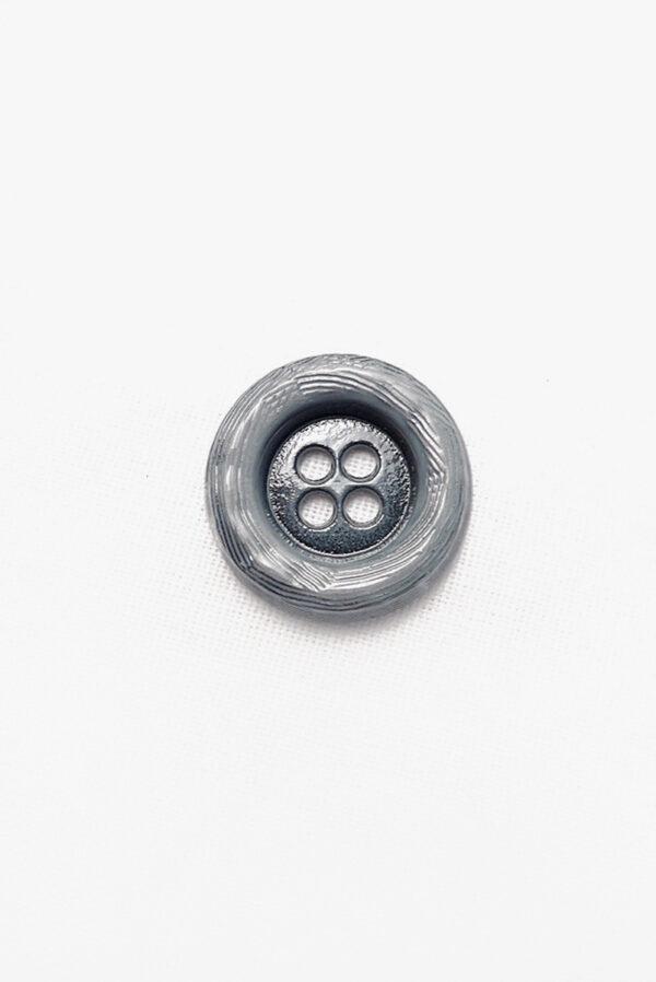 Пуговица металл серая большая на четыре прокола