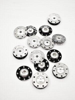 Кнопки пришивные черные металл серебро (р1034) - Фото 15