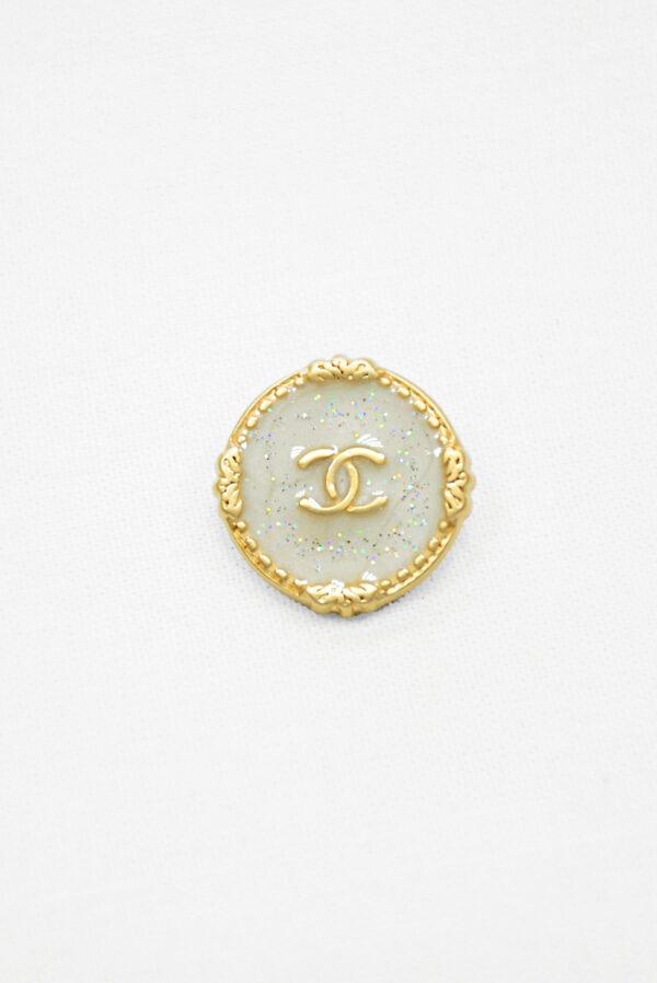Пуговица металл золото светло-серая эмаль с блестками (р1481) - Фото 6