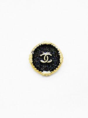 Пуговица металл золото черная эмаль с блестками (р1482) - Фото 15