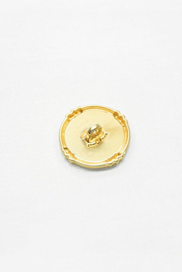 Пуговица металл золото светло-серая эмаль с блестками (р1481) - Фото 9