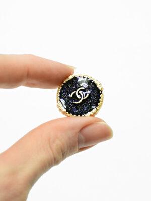 Пуговица металл золото черная эмаль с блестками (р1482) - Фото 16