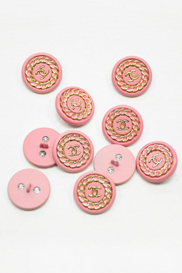 Пуговица металл розовая с золотой цепью (р1483) - Фото 8