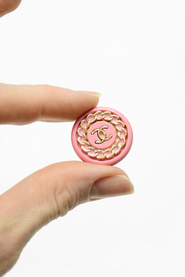 Пуговица металл розовая с золотой цепью (р1483) - Фото 7
