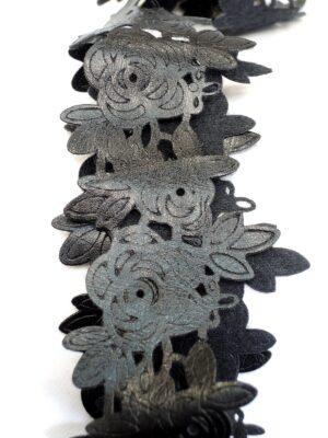 Тесьма экокожа черная тонкая цветочный узор (t0255) - Фото 10