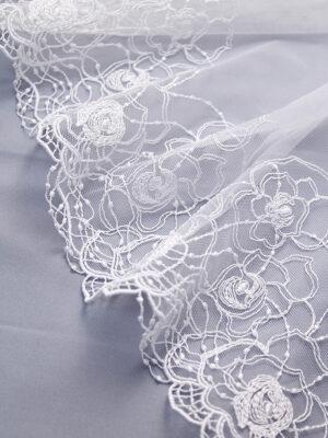 Кружево стрейч белое с цветочным орнаментом (t0329) К-21 - Фото 11