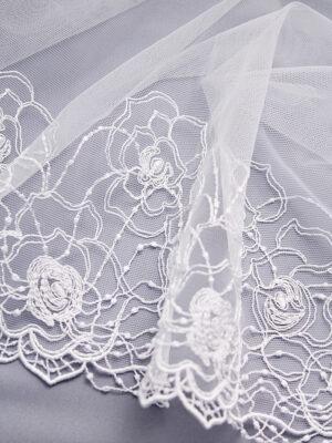 Кружево стрейч белое с цветочным орнаментом (t0329) К-21 - Фото 12