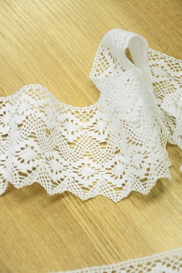 Тесьма хлопковая плетеная молочно-белая с ромбами 2