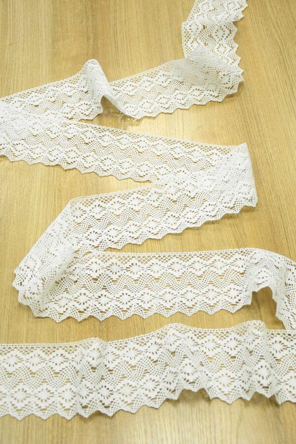 Тесьма хлопковая плетеная молочно-белая с ромбами