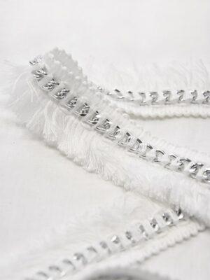 Тесьма белая с бахромой и металлической серебряной цепью (t0509) т-15 - Фото 16
