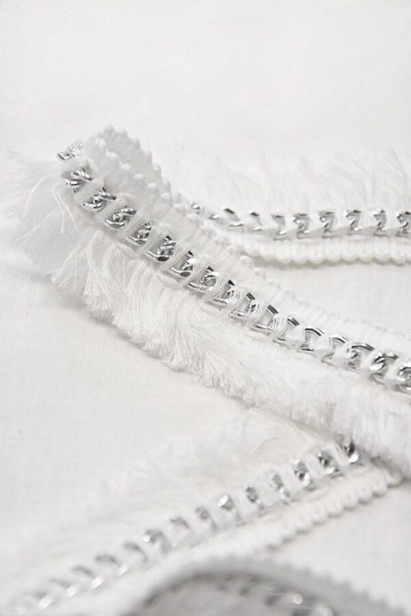 Тесьма белая с бахромой и металлической серебряной цепью (t0509) т-15 - Фото 6