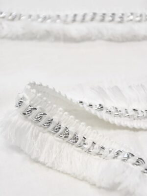 Тесьма белая с бахромой и металлической серебряной цепью (t0509) т-15 - Фото 17