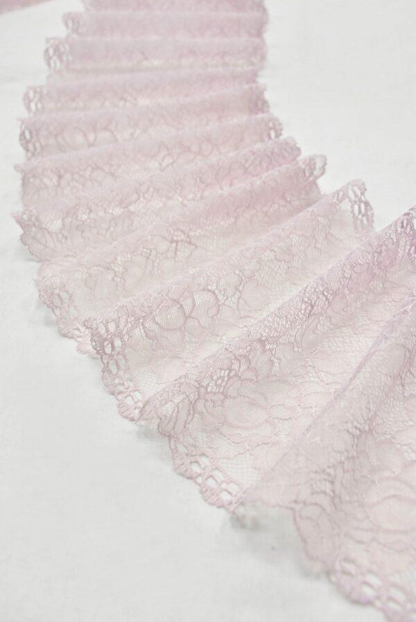 Кружево стрейч нежно-розовое с цветочками (t0539) т-21 - Фото 6