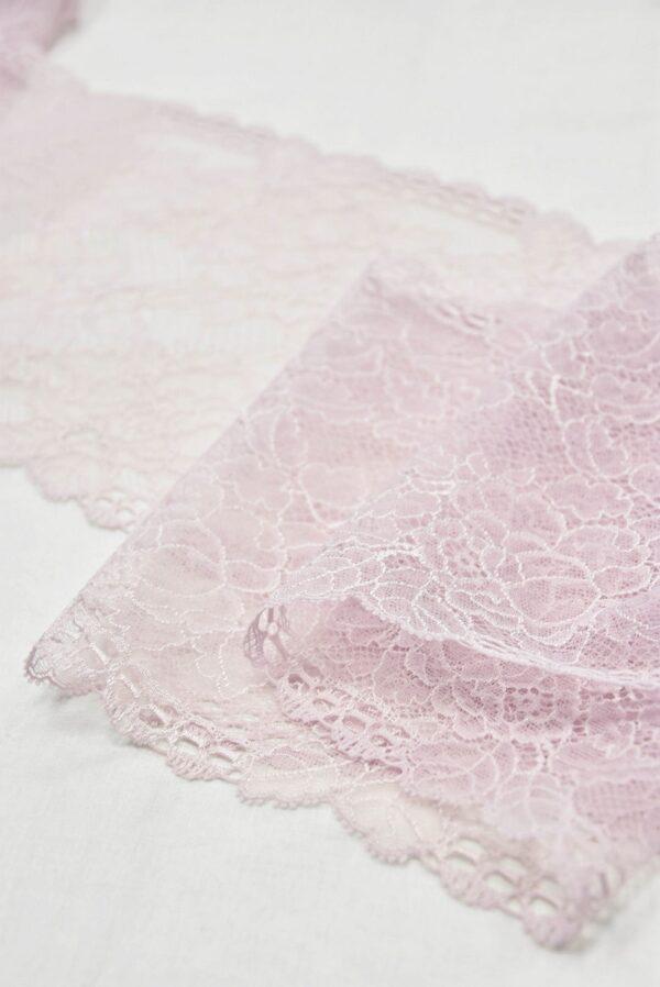 Кружево стрейч нежно-розовое с цветочками (t0539) т-21 - Фото 8