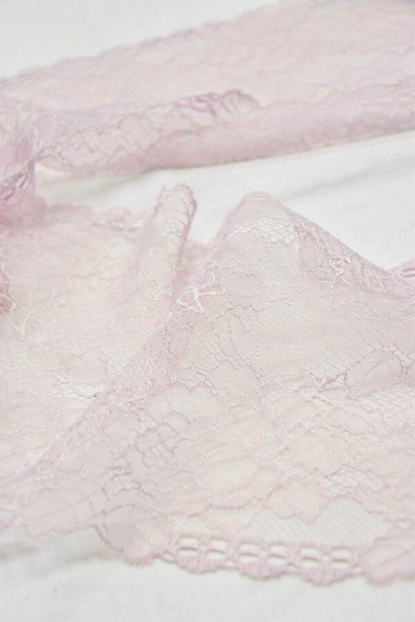 Кружево стрейч нежно-розовое с цветочками (t0539) т-21 - Фото 9