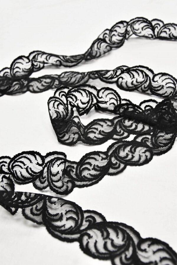 Кружево отделочное стрейч черное (t0540) т-22 - Фото 6