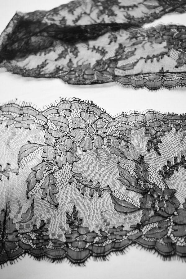 Кружево стрейч черное с цветами и фестонами (t0695) т-22 - Фото 8