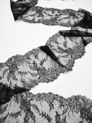 Кружево стрейч черное с цветами и фестонами (t0695) т-22 - Фото 18