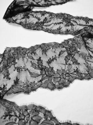 Кружево стрейч черное с цветами и фестонами (t0695) т-22 - Фото 17