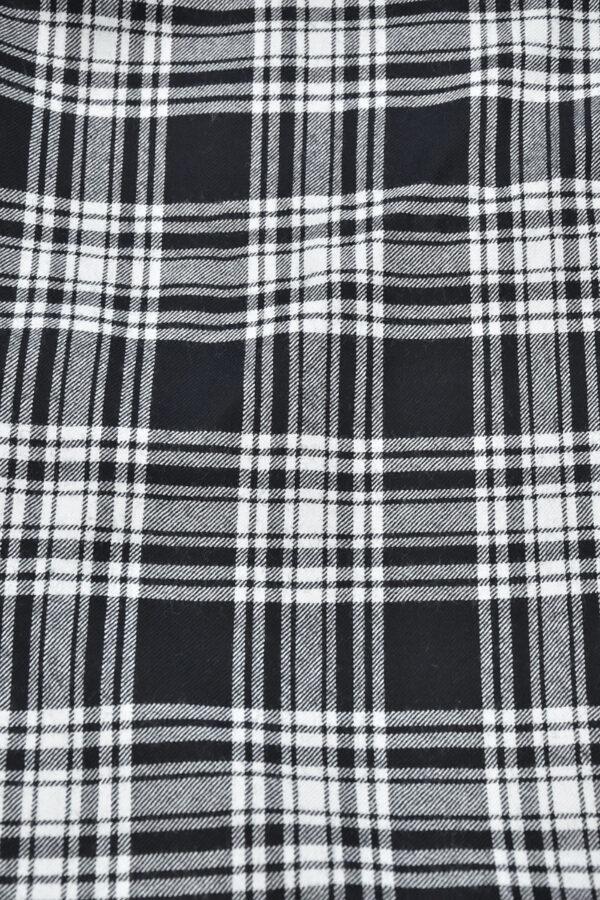Костюмная шерсть черно-белая шотландская клетка (0449) - Фото 7