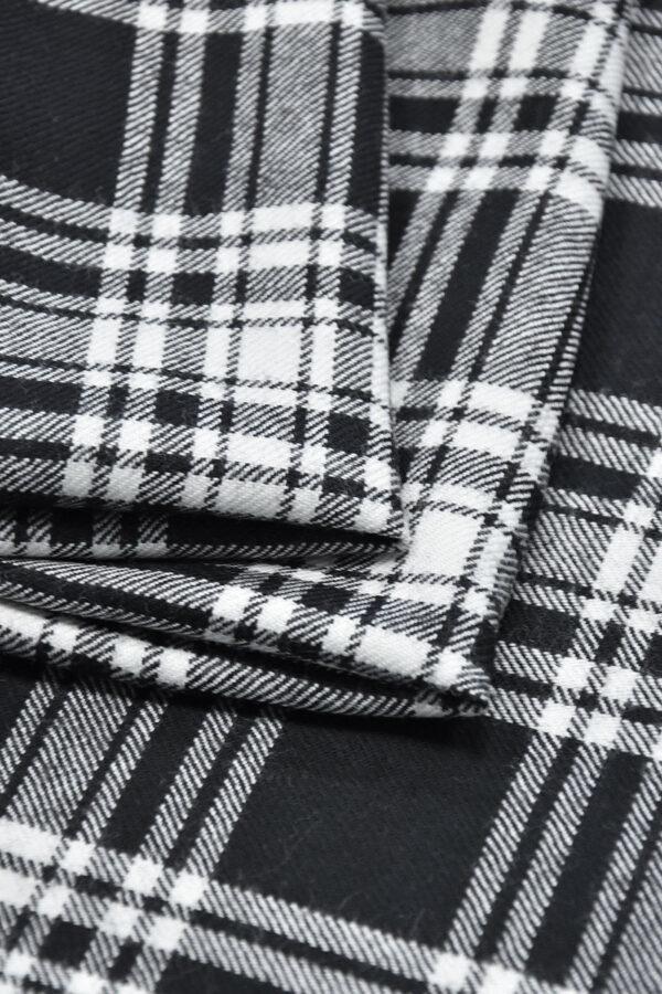 Костюмная шерсть черно-белая шотландская клетка (0449) - Фото 8