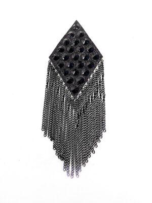 Аппликация ромб черный с цепочками и стразами (t0379) К-броши и декоры2 - Фото 13