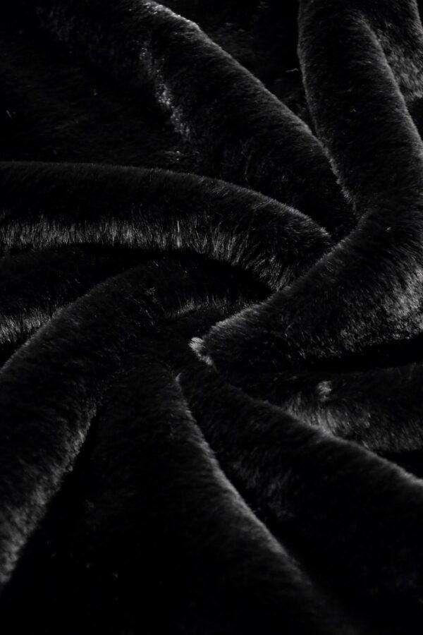 Мех искусственный черный мутон (10577) - Фото 7