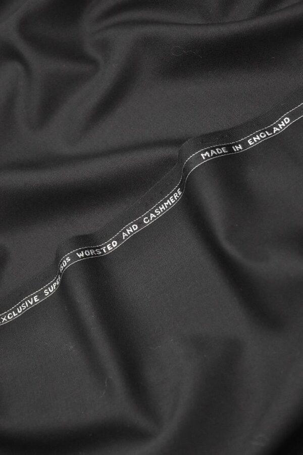 Костюмная шерсть с кашемиром Англия черная подписная кромка (1306) - Фото 6