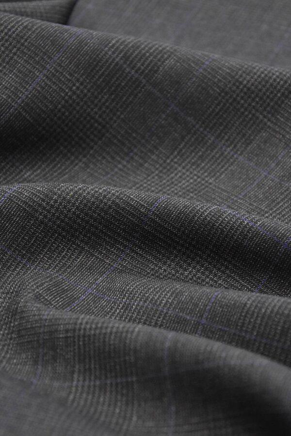 Костюмная шерсть клетка шотландка гленчек темно-серый (1313) - Фото 6