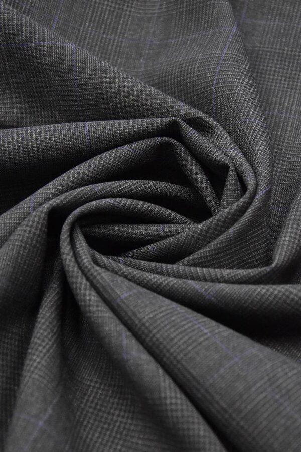 Костюмная шерсть клетка шотландка гленчек темно-серый (1313) - Фото 8