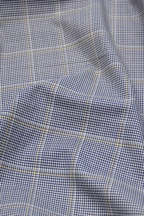 Костюмная шерсть с шелком крупная клетка синяя с белым (1327) - Фото 6