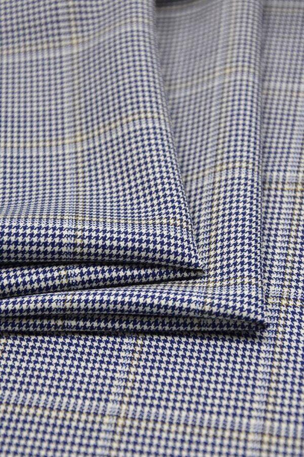 Костюмная шерсть с шелком крупная клетка синяя с белым (1327) - Фото 7