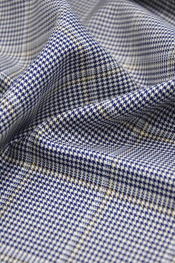 Костюмная шерсть с шелком крупная клетка синяя с белым (1327) - Фото 10