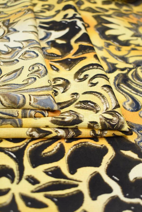 Шелк желтые вензеля с градиентом (1432) - Фото 8