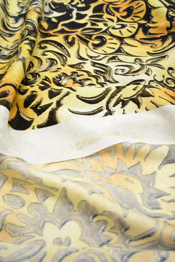 Шелк желтые вензеля с градиентом (1432) - Фото 7