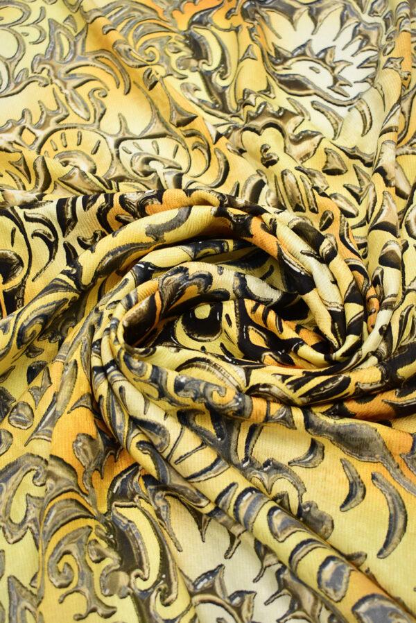 Шелк желтые вензеля с градиентом (1432) - Фото 9