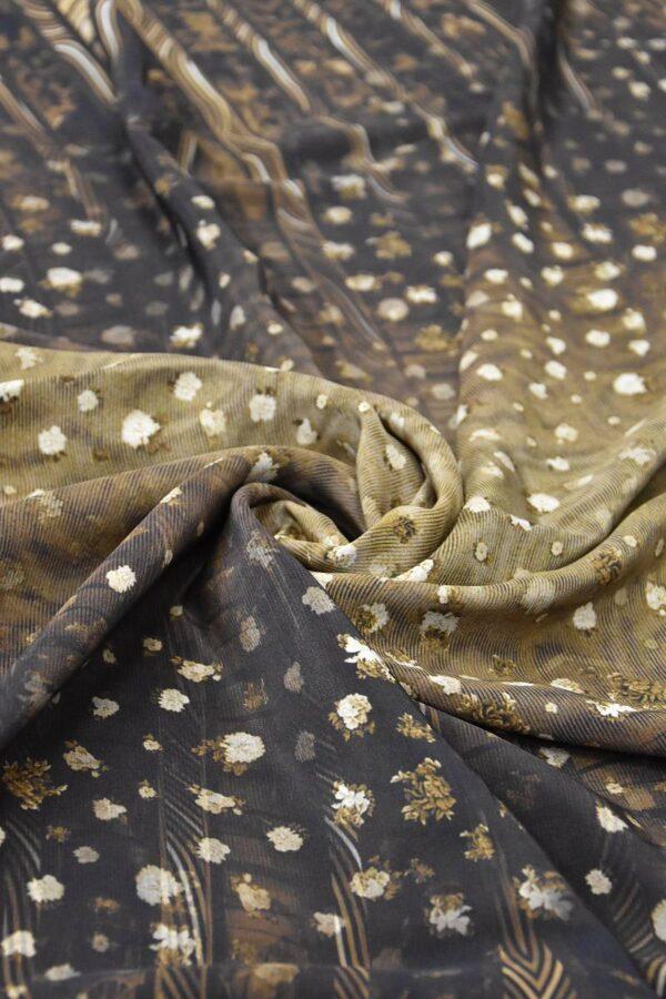 Крепдешин шелк коричневый с переходом (1455) - Фото 8